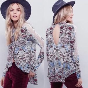 Free People New World Jersey Nouveau Mock Neck Top